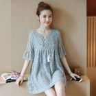 Maternity Elbow-Sleeve Lace Dress 1596