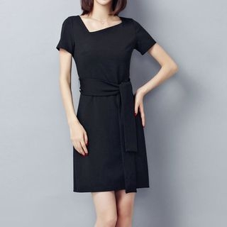 Plain Short Sleeve Sheath Dress 1060571503