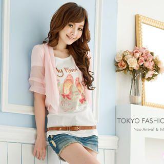 Buy Tokyo Fashion Tie-Back Chiffon Cropped Cardigan 1023062795