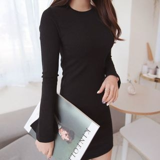 Slit-Sleeve Ribbed Mini Dress 1057474060