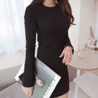 Slit-Sleeve Ribbed Mini Dress 1596