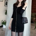 Zip Front Long-Sleeve Bodycon Dress 1596