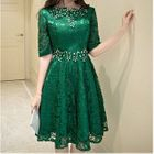 Embellished Elbow Sleeve A-Line Lace Cocktail Dress 1596