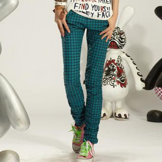 Buy tictak Ruched-Side Check Skinny Pants 1023065588