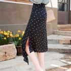 Dotted Asymmetric Chiffon Skirt 1596