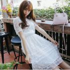 Gathered-Waist Short-Sleeve Crewneck Chiffon A-Line Sheath Panel Lace Dress 1596