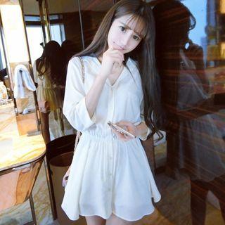 Image of 3/4-Sleeve Mini Shirt Dress