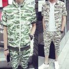 Set: Camouflage Short-Sleeve Zip Jacket + Cropped Sweatpants 1596