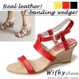 Buy Wifky Leather Strappy Wedge Sandals 1022967569
