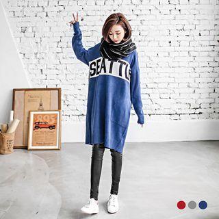 Oversize Patterned Knit Dress 1052977236