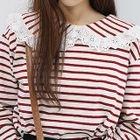 Lace-Trim Collar Stripe Top 1596