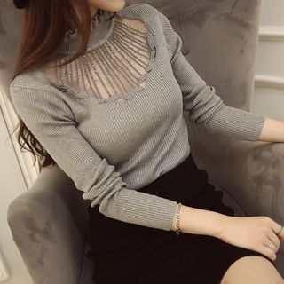 Long-Sleeve Frilled-Trim Paneled Knit Top 1054781320