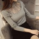 Long-Sleeve Frilled-Trim Paneled Knit Top 1596