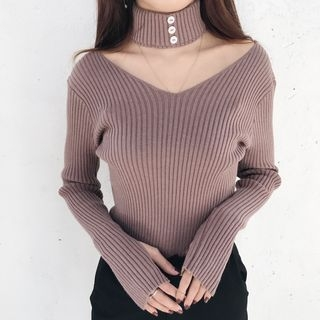 Choker Rib Knit Top 1057382267