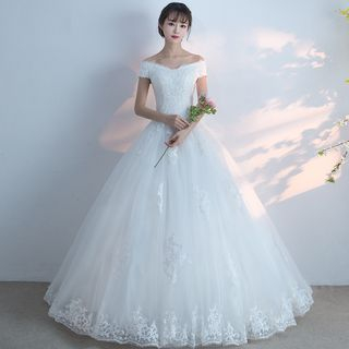 Image of Off-Shoulder Lace Wedding Ball Gown