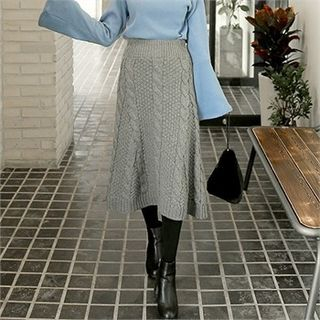 Band-Waist Cable-Knit Long Skirt 1055540759
