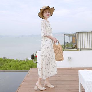 Image of Floral Elbow-Sleeve A-line Chiffon Dress / Midi Dress