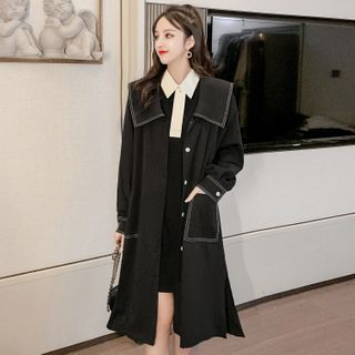 Image of Color Block Long-Sleeve Collar Dress / Trench Coat