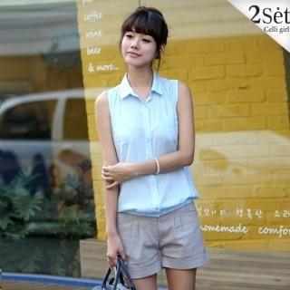 Buy Celli Girl Set: Sleeveless Elasticized Hem Shirt + Cuffed Hem Shorts 1022970633
