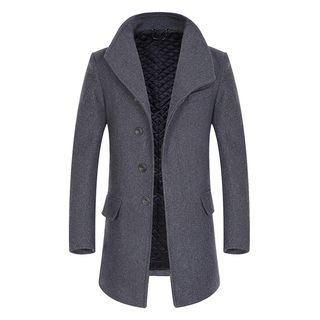 Image of Single-Breasted Woolen Coat
