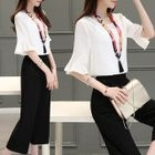 Set: Elbow-Sleeve Chiffon Top + Cropped Wide-Leg Pants 1596