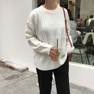 Ribbed Long-Sleeve Knit Top 1063947849