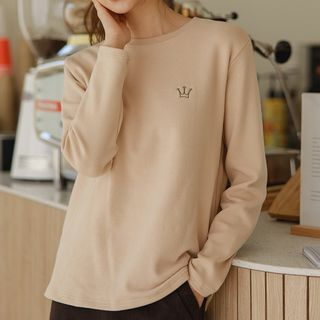 Crown-embroidered Napped T-shirt