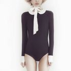 Two-Tone Long-Sleeve Swimsuit 1596