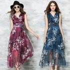 Sleeveless Floral Maxi Chiffon Dress 1596