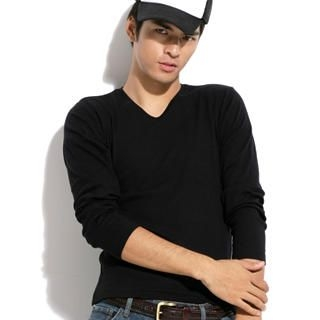 Picture of Justyle Long-Sleeve V-Neck Top 1021498453 (Justyle, Mens Tees, China, Mens Causal Tops)