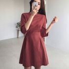 3/4-Sleeve Tie-Waist Dress 1596