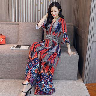 Romantica Printed Ruffled Midi Dress