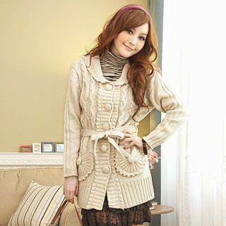 Buy Tokyo Fashion Frill-Trim Cable-Knit Cardigan 1022094000