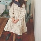 Long-Sleeve Dotted Frilled Dress 1596