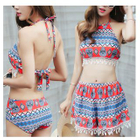 Set: Tasseled Patterned Tankini + Swim Skirt 1596