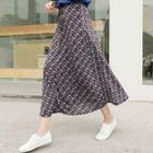Drawstring-Waist Patterned Maxi Skirt 1596