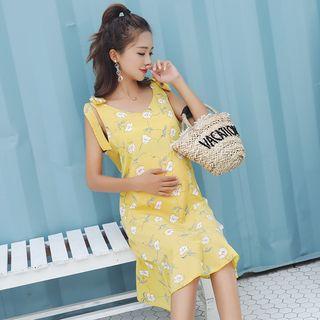Sleeveless   Maternity   Chiffon   Floral   Dress   Print