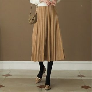 Band-waist Accordion-pleat Velvet Skirt