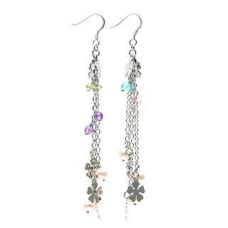 Image For Semi-Precious Gems & Flower Disc Dangly Earrings