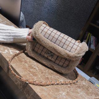 Furry Trim Plaid Chain Strap Crossbody Bag