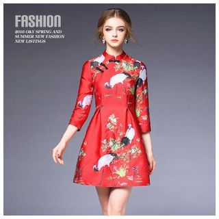 Chinese Frog Button Jacquard A-Line Dress 1048838559