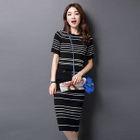 Set: Short-Sleeve Striped Knit Top + Striped Knit Skirt 1596
