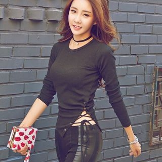 Long-Sleeve Side-Tie Ribbed T-Shirt 1063927210