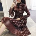 Long-Sleeve Dotted Pleated Midi Dress 1596
