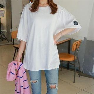 Round-Neck Elbow-Sleeve T-Shirt 1064739908