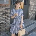 Short-Sleeve Stripe Tie-Waist Dress 1596