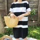 Striped Short Sleeve Knit T-Shirt Dress 1596