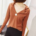 Notch Lapel Ribbed Knit Top от YesStyle.com INT