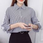 3/4-Sleeve Pinstriped Blouse 1596
