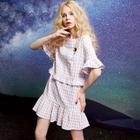 Short-Sleeve Frilled-Trim Check Dress 1596